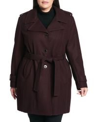 CALVIN KLEIN 205W39NYC - Single Breasted Wool Blend Trench Coat (plus Size) - Lyst