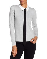 Cece by Cynthia Steffe - Scalloped Tie Sweater - Lyst