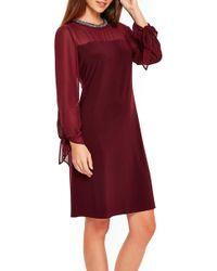 Wallis - Tie Sleeve Embellished Neck Dress - Lyst