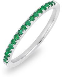 Bony Levy - 18k White Gold Pave Emerald Stackable Band Ring - Lyst