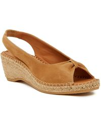 Andre Assous - Lace Slingback Wedge Sandal - Lyst