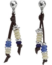 Uno De 50 - Lollapalooza Stacked Glass Bead Double-strand Leather Stud Earrings - Lyst