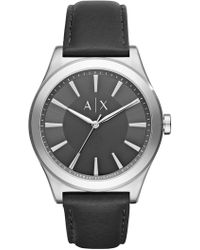 Armani Exchange - Men's Nico Leather Strap Watch, 44mm - Lyst