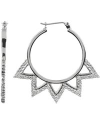 Vince Camuto - Crystal Accent Zig Zag Detail 36mm Hoop Earrings - Lyst