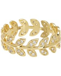 Shashi - 18k Yellow Gold Plated Sterling Silver Pave Crystal Leaf Band Ring - Lyst