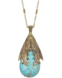 Jessica Simpson - Feather Detail Stone Drop Pendant Necklace - Lyst