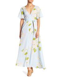 Haute Rogue - Floral Surplice Neck Wrap Dress - Lyst