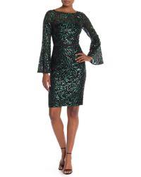 Carmen Marc Valvo - Embroidered Sequin Bell Sleeve Sheath Dress - Lyst