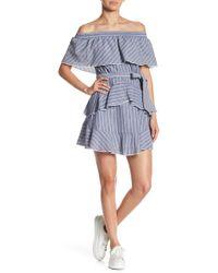 Lush - Ruffle Off-the-shoulder Stripe Dress - Lyst