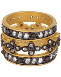 Freida Rothman 14k Gold Cz Clover Stacking Rings - Set Of 3