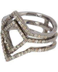 Adornia - Sterling Silver Diamond Pave Deco Ring - 0.50 Ctw - Lyst