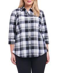 Foxcroft - Sue Shaped Fit Plaid Shirt (plus Size) - Lyst