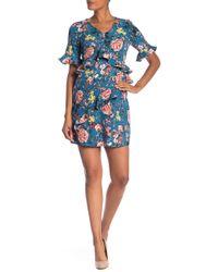 Laundry by Shelli Segal - Asymmetrical Ruffle Floral Dress - Lyst