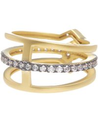 Freida Rothman - 14k Gold Plated Sterling Silver Cz Contemporary Deco Triple Ring - Lyst