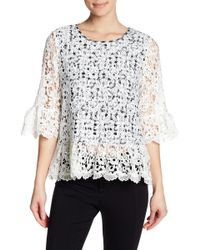 Pleione - Gingham Lace Overlay Blouse - Lyst