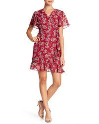 Sharagano - Floral Mock Wrap Dress (petite) - Lyst