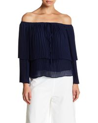 English Factory - Pleated Chiffon Layered Butterfly Sleeve Blouse - Lyst