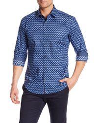 Bugatchi - Geometric Patterned Long Sleeve Shaped Fit Shirt - Lyst