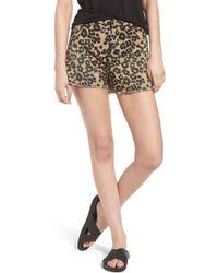 Scotch & Soda - Leopard Print Cutoff Shorts - Lyst