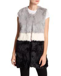 Love Token - Colorblock Genuine Rabbit Fur Vest - Lyst