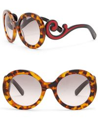 220b857522c Prada - Women s 55mm Round Catwalk Minimal Baroque Sunglasses - Lyst