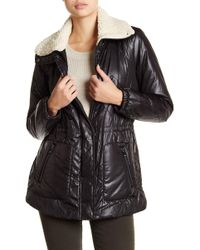 Kenneth Cole - Faux Shearling Trim Puffer Coat - Lyst