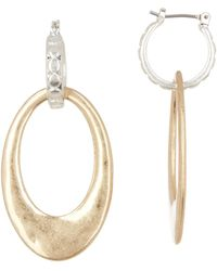 Lucky Brand - Two-tone Dangle Hoop Earrings - Lyst