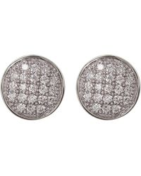 Bony Levy - 18k White Gold Pave Diamond Circle Stud Earrings - 0.13 Ctw - Lyst