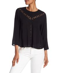 Michael Stars - Lace Inset Cropped Blouse - Lyst