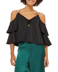 TOPSHOP - Double Sleeve Lace Camisole Top - Lyst