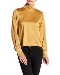 Sincerely Jules - Clara Mock Neck Satin Blouse - Lyst