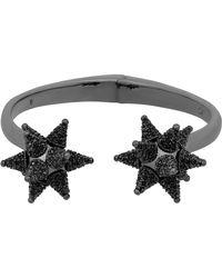 Swarovski - As Kalix Ruthenium Plated Pave Black Crystal Starburst End Hinged Cuff Bracelet - Lyst