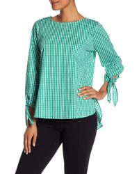 Vince Camuto - Gingham Tie Sleeve Blouse - Lyst