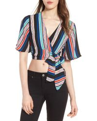 Lush - Stripe Wrap Crop Top - Lyst