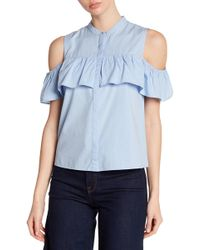 Lucky Brand - Cold Shoulder Ruffle Blouse - Lyst