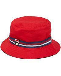 eb7a9f9ec30 Lyst - Fila Logo Bucket Hat in Blue for Men