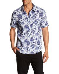 Benson - Floral Print Short Sleeve Linen Modern Fit Shirt - Lyst
