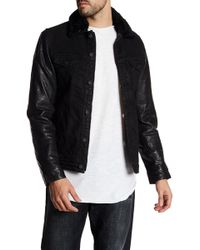 Gilded Age - Faux Fur Collar Leather Sleeve Denim Jacket - Lyst