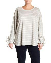Caslon - Striped Cold-shoulder Sweatshirt (plus Size) - Lyst