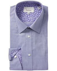 Ted Baker - Micro Check Trim Fit Dress Shirt - Lyst
