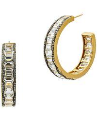 Freida Rothman - 14k Yellow Gold Plated Sterling Silver Cz 35mm Hoop Earrings - Lyst