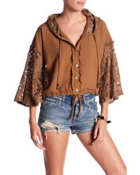 ANAMÁ - Hooded Lace Crop Jacket - Lyst