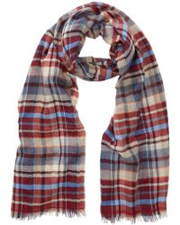 Tommy Bahama - Plaid Print Wool Blend Wrap Scarf - Lyst