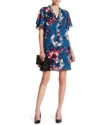 Charles Henry - Floral Neck Tie Shift Dress - Lyst