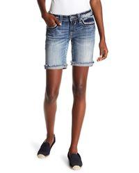 Vigoss - Medium Wash Embellished Shorts - Lyst