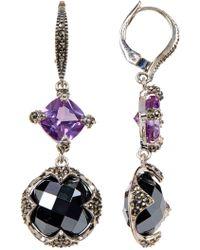 Judith Jack - Sterling Silver Princess & Round Crystal & Marcasite Detail Drop Earrings - Lyst