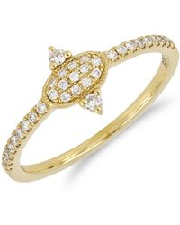 Bony Levy - 18k Yellow Gold Diamond Detail Oval Ring - Size 7 - Lyst