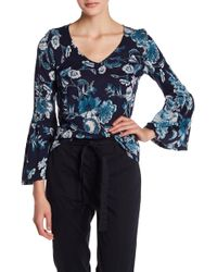 Lucky Brand - Floral Bell Sleeve Top - Lyst