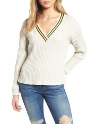 Lush - Varsity Stripe Ribbed Sweater - Lyst