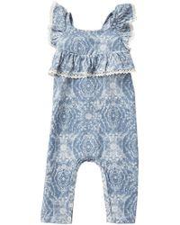 dd925f3016a7 Lyst - Jessica Simpson Drapey Stripe Romper (baby Girls 12-24m) in Blue